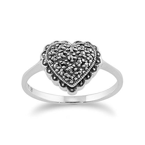 Marcasite Heart Shaped Ring - Gemondo Marcasite Ring, 925 Sterling Silver 0.21ct Marcasite Heart Shaped Ring