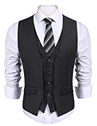 COOFANDY Men's Dress Suit Layered Vest V Neck Plaid Patchwork Wedding Waistcoat, Dark Grey, X-Large