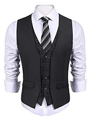 COOFANDY Men's Dress Suit Layered Vest V Neck Plaid Patchwork Wedding Waistcoat, Dark Grey, X-Large