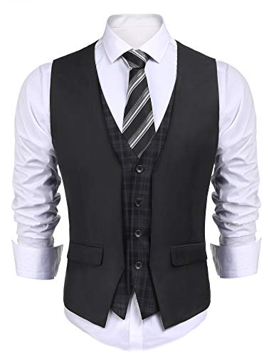 COOFANDY Men's Dress Suit Layered Vest V Neck Plaid Patchwork Wedding Waistcoat,Dark Grey,Large]()