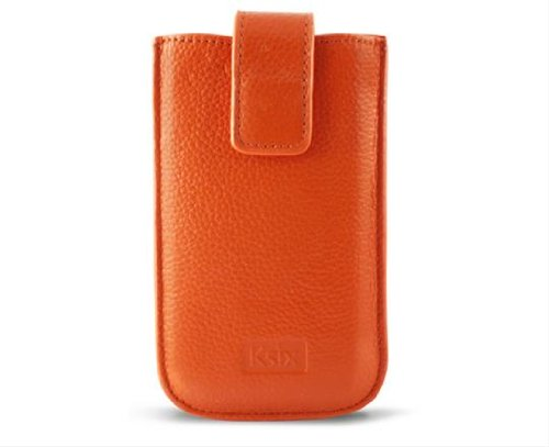 KSIX BXKG04INJ Genuine Leder Handytasche Gold Elektra für Apple iPhone 4/4S Große L orange