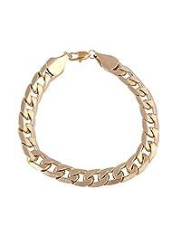 Beuu Flat Embossed Chain Simple Bracelet Men Women Fashion Luxury Filled Curb Cuban Link Gold Jewelry (Stil 2- Gold)
