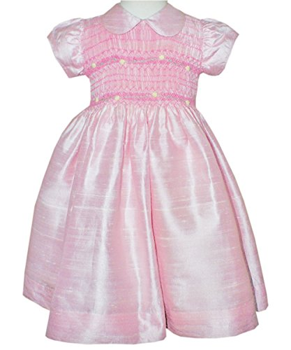Pink Silk Dupioni Girl Dress Hand Smocked Flower Girls and Special Occasions -