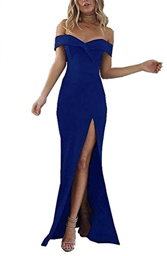 PRETTYGARDEN Women's 2018 Off Shoulder Side Split Slim Evening Maxi Party Dress (Small, Blue)