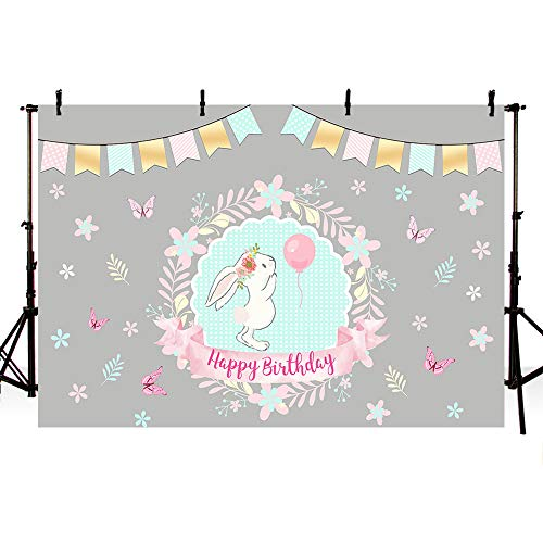 MEHOFOTO Cute Bunny Birthday Party Photo Studio Booth Backgrounds Rabbit Flowers Butterfly Girls Photography Backdrops Cake Table Banner 7x5ft]()