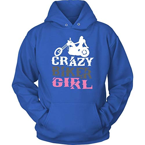 Crazy Biker Girl Cute Unique Funny Harley Motorcycle Rider Gift Ideas Hoodies Royal -