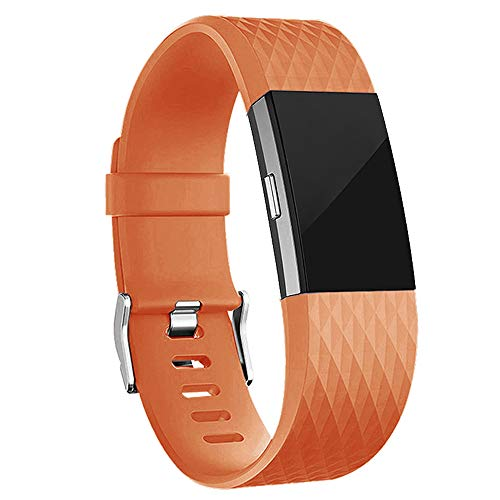 (iGK Replacement Bands Compatible for Fitbit Charge 2, Adjustable Replacement Bands with Metal Clasp Special Edition Light Orange Small)