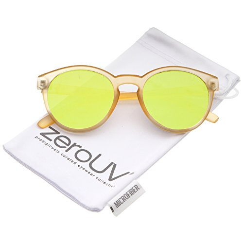 zeroUV - Modern P3 Keyhole Bridge Round Mirror Flat Lens Horn Rimmed Sunglasses 49mm (Matte Orange / Yellow - Nyc Sunglasses Best
