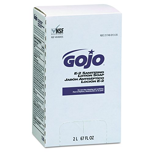 E2 Sanitizing Soap Refill (GOJO 7280 E2 Sanitizing Lotion Soap, Fragrance-Free, 2000 ml Refill (Case of 4))