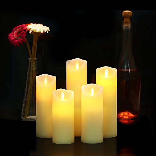 Flameless Candles, 5'' 6'' 7'' 8'' 9'' Set of 5 Real Wax Not Plastic Pillars Include Realistic Dancing LED Flames and 10-key Remote Control with 2/4/6/8-hours Timer Function,300+ Hours -YIWER (5x1, Ivory) by YIWER (Image #4)