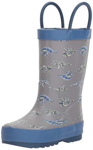 OshKosh B'Gosh Boy's Dino Rubber Rainboot Rain Boot, Blue, 7 M US Toddler