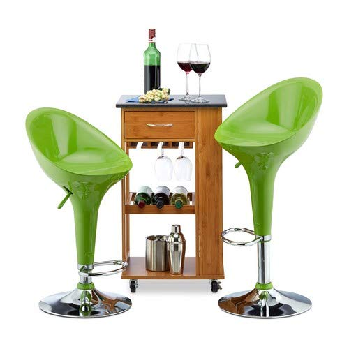 Relaxdays Bar Stool Set of 2, Height-Adjustable, Swivel, 120 kg, Metal Bistro Chair, HxWxD: 101 x 45 x 40 cm, Green