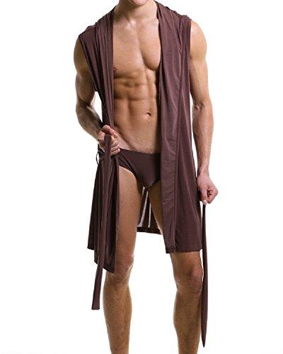 Men's Silk Bathrobe Hooded Sleeveless Open Front Sleepwear Pajamas (XL, Brown) ()