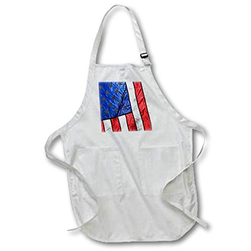 3dRose Danita Delimont - Flags - Sunlight shines through an American Flag. - Full Length Apron with Pockets 22w x 30l (apr_277574_1)