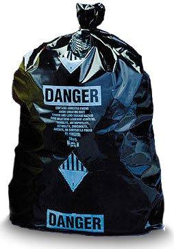 Black Disposable Burial Poly Bags 33x50 (Printed) Asbestos Bags 75/roll