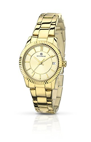 Accurist Women's Watch with Gold Dial Analogue Display and Gold Stainless Steel Gold Plated Bracelet 8012.01