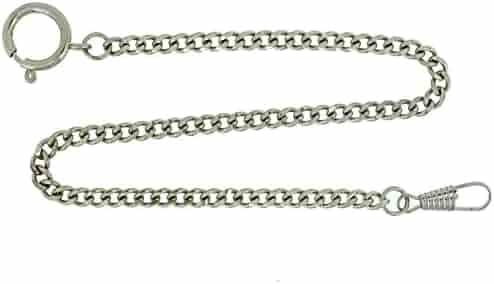 Pocket Watch Chain Fob Curb Link Design Silver-Tone 14
