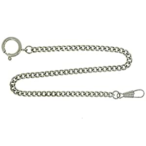 Pocket Watch Chain Fob Curb Link Design Silver-Tone 14""