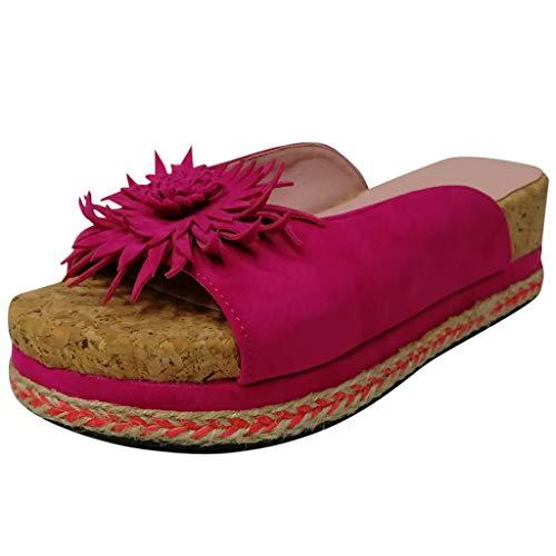 ❣❥HebeTop❥❣ 2019 New Women Comfy Platform Sandal Shoes Summer Beach Travel Shoes Fashion Sandals Comfortable Ladies Open Toe Shoes Roman Slippers Sandals Pink
