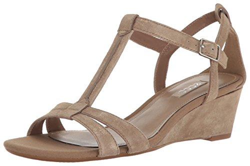 Ecco Donna Donna Rivas 45 T-strap Sandalo Con Zeppa Navajo Marrone