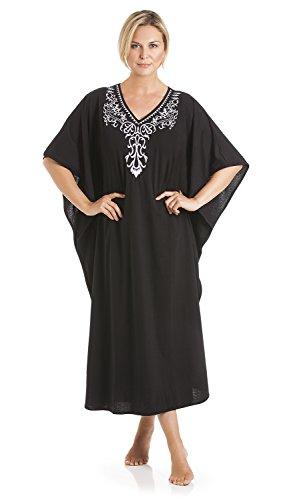 Señoras un Tamaño Kaftans bordado cuello de encaje completo longitud 807 negro