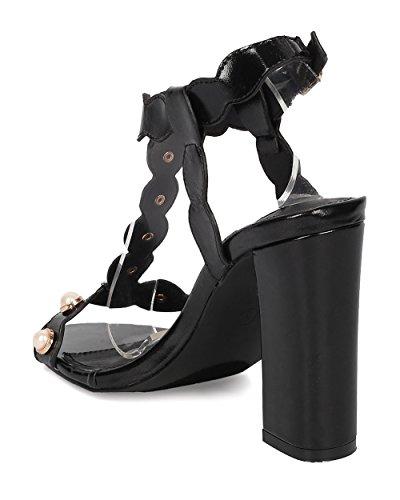 Cape Robbins Kvinnor T-rem Blockera Häl Sandal - Fauxpärla Chunky Häl - Scalloped Häl Sandal - Ha24 Med Svart Konstläder