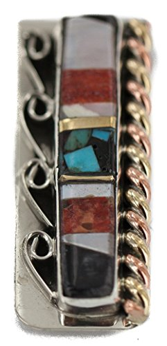 Inlaid Black Onyx ($190 Retail Tag Navajo Silver Handmade Authentic Made by Robert Little Inlaid Natural Black Onyx Mother of Pearl Spiny Oyster Turquoise Native American Nickel Brass Copper Money Clip)