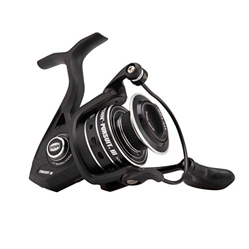 - Penn Pursuit III Spinning Fishing Reel, Black/Silver, 4000