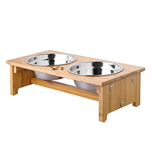 FOREYY Raised Pet bowls for Cats and Small Dogs - Bamboo Elevated Dog Cat Food and Water Bowls Stand Feeder with 2 Stainless Steel Bowls and Anti Slip Feet - Patent Pending (4'' Tall - Large bowl)