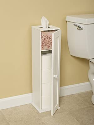 Free Standing White Toilet Paper Bathroom Cabinet Holder