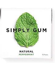 Simply Gum | Natuurlijke kauwgom | Pepermunt | Pak van zes (90 stuks totaal) | Plantaardig + aspartaamvrij + niet-ggo
