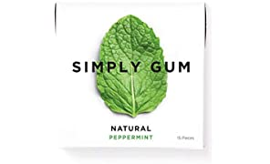 Simply Gum | All Natural Chewing Gum | Peppermint | Pack of Six (90 Pieces Total) | Plastic Free + Aspartame Free + non GMO