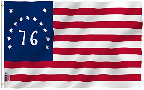 Anley Fly Breeze 3x5 Foot Bennington 76 Flag - Vivid Color and UV Fade Resistant - Canvas Header and Double Stitched - American Revolution Flags Polyester with Brass Grommets 3 X 5 Ft (1776 Flag Bennington)