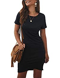 Women's 2020 Casual Crew Neck Ruched Stretchy Bodycon T Shirt Short Mini Dress