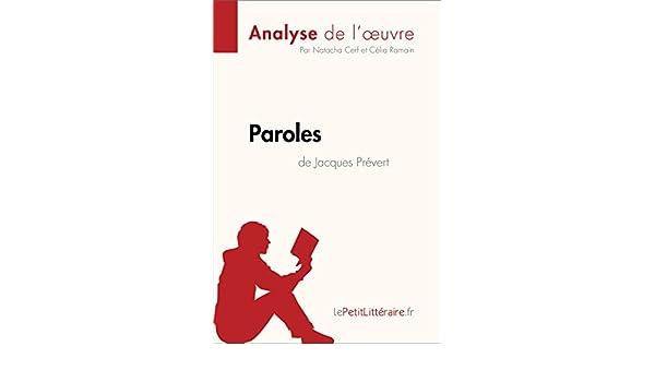 Amazoncom Paroles De Jacques Prévert Analyse De Loeuvre