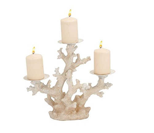 Christmas Tablescape Decor - White coral inspired polystone metal 3 pillar candelabra