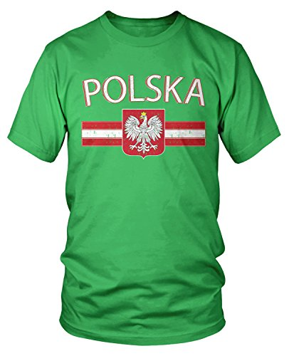 Amdesco Men's Polska Poland Flag and Polish White Eagle T-Shirt, Kelly Green Small
