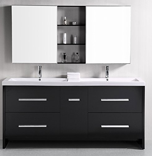 Traditional Bath Vanity Set (Design Element Perfecta Double Integrated White Acrylic Drop-in Sink Vanity Set,)