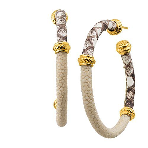 Cristina Sabatini Eagle Ray Natural Stingray & Python Leather Hoop Earrings in 18K Gold-Plated Sterling Silver, Tan