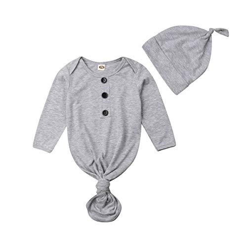 - Baby Nightgown Unisex Newborn Boy Girl Sleeper Gowns Stripe Sleeping Bags Swaddle Sack Coming Home Outfit 0-12M(0-3 Months, Grey)