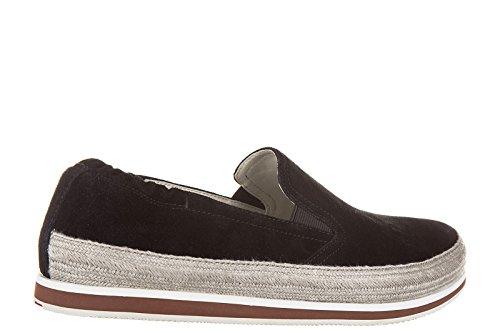 Sneakers Slip On Uomo Prada Nuove Nero Originali in Camoscio xq7RPXA