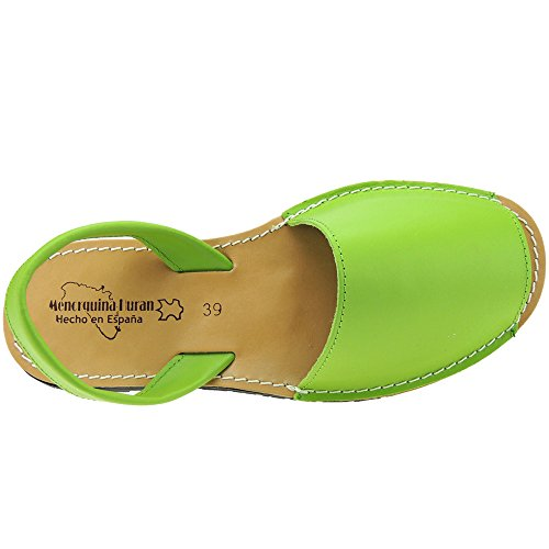 Para Menorquina Mujer Cosida Verde Piel 550 Piso Modelo Hurán Llano Sandalia 64q5xxwY