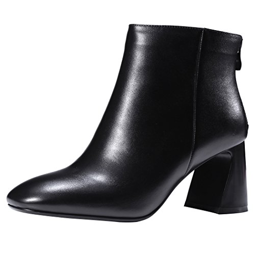 QIN&X Las mujeres's Square Toe tacones de bloque corto Botines zapatos con plataforma Black