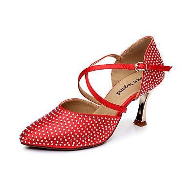 XIAMUO Frauen Satin obere Schnalle Latin Ballroom Dance Schuhe Sandalen (weitere Farben) (eine Nummer größer wählen), Beige, US5/EU 35/UK3/CN34