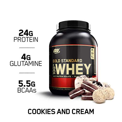OPTIMUM NUTRITION GOLD STANDARD 100% Whey Protein Powder, Cookies and Cream, 5 Pound (Packaging May Vary) (Delicious Strawberry Protein)