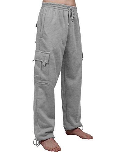 NE PEOPLE Mens Comfy Elastic Drawstring Fleece Cargo Sweat Pants-HeatherGray-L