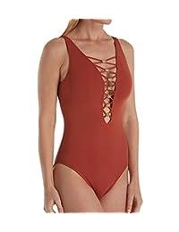 Bleu | Rod Beattie Women's Strappy Plunge One Piece Swimsuit Swimsuit