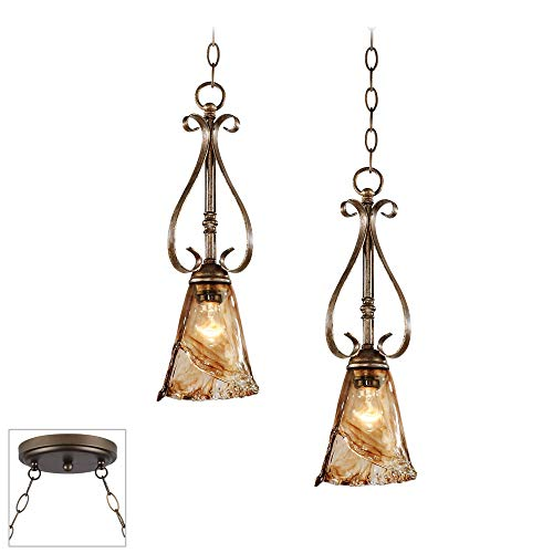 Amber Scroll 6 Wide Bronze 2-Light Swag Chandelier – Franklin Iron Works