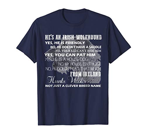 Mens Irish Wolfhound Shirt - Irish Wolfhound Tshirts XL Navy