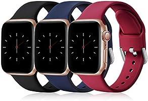 Wepro 3 Pack Bracelet Compatible avec Apple Watch Bracelet 38mm 42mm 40mm 44mm, Silicone de Remplacement Bracelet...